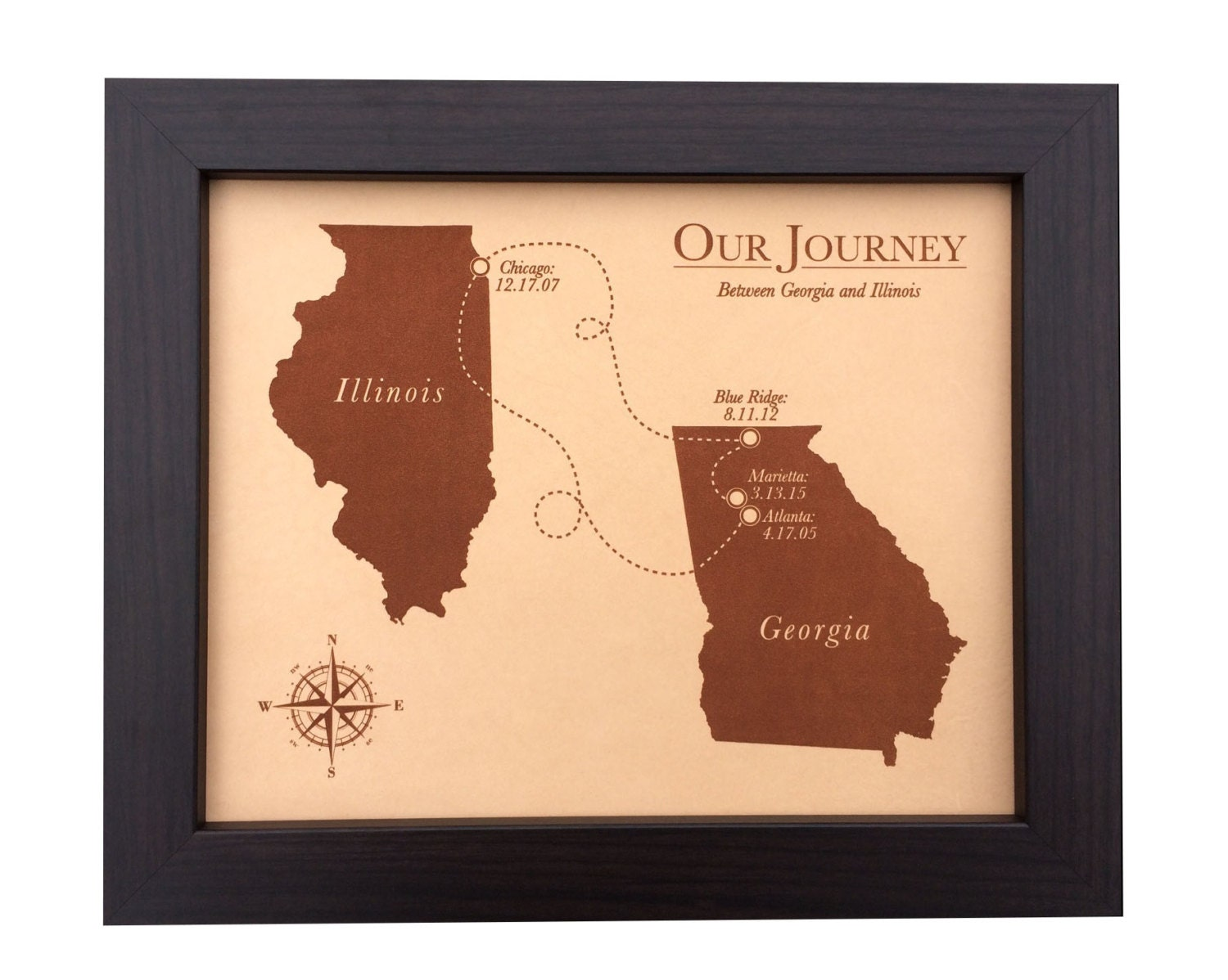 3rd Wedding Anniversary Gift For Husband: Leather Anniversary Gift Laser Engraved Map 3rd