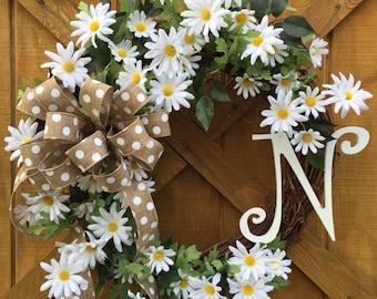 Summer wreath, Grapevine wreath, Summer grapevine wreath, Flower wreath, Summer decoration, Daisies