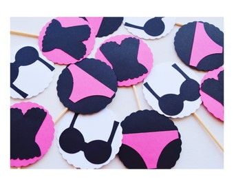 Bachelorette Party Cupcake Toppers; Lingerie Shower Cupcake Toppers; Boudoir theme; Bachelorette Party Decorations