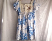 Woodsfolk embroidered womens summer folk dress in vintage pure cotton with cross stitch embroidered linen bodice size 10