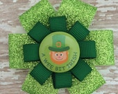 St. Patrick's Day Hair Bow - Leprechaun Glitter Hair Bow Clip - A Wee Bit Irish - St. Patty's Hair Accessory - Green Hair Accessories