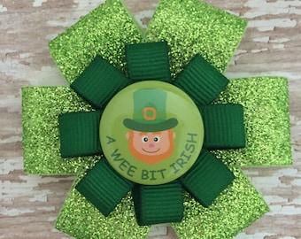 St. Patrick's Day Hair Bow - Leprechaun Glitter Hair Bow Clip - A Wee Bit Irish - St. Patty's Hair Accessory - Green Hair Accessories