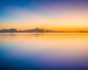 Colorful long exposure taken from Smathers Beach at sunset, in Key West, Florida. | Photo Print, Stretched Canvas, or Metal Print.
