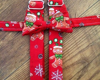 Gingerbread/Christmas /Winter/Holiday/adjustable Boys bowtie and Suspender/red and green striped/great for pictures for cards or Santa -