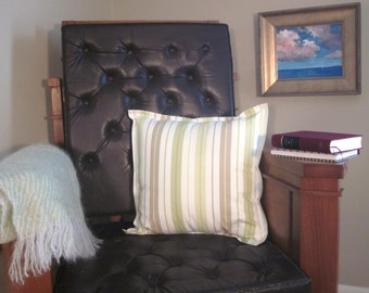 Decorator Throw Pillow Cover White, Green & Tan Stripes