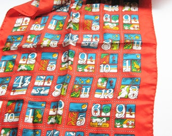Large Cheri Johnson scarf. 1973 American Lung Association scarf. 12 days of Christmas. '70s fashion. Holiday accessory. Christmas scarf