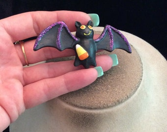 Vintage Large Halloween Bat With Candy Corn Pin
