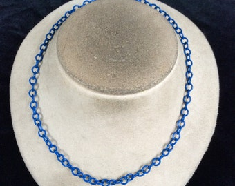 Vintage Blue Enameled Chain Necklace