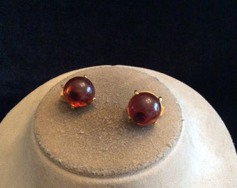 Vintage Round Brown Stone Clip On Earrings