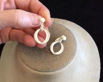 Vintage White Enameled Dangle Clip On Earrings