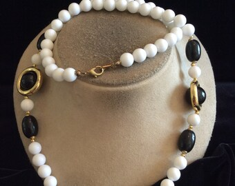 Vintage Long White & Black Beaded Goldtone Necklace