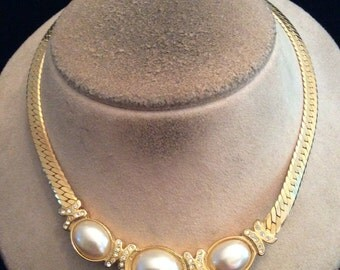 Vintage Chunky Rhinestone & Faux Pearl Collar Necklace