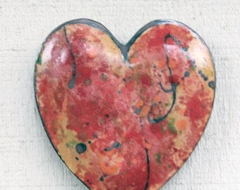 Stoneware Clay Pottery Wall Heart Vase- Large Ceramic, Red