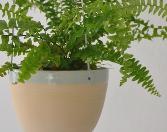Hanging planter in white/iceblue