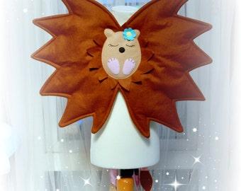 Felt woodland fairy hedgehog wings