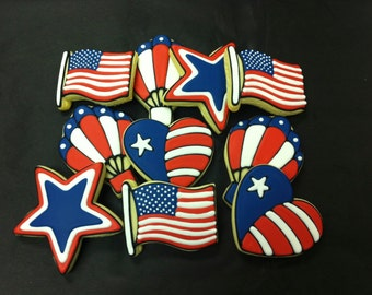4th of July Cookies, Independence Day Cookies, Patriotic Cookie Favors, American Flag Cookies, Fourth of July Theme Cookies for Parties