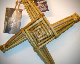 """St. Brigid's Cross - hand made in Ireland 11"""" x 11"""" x 1"""" with history card attached, All Handcrafted, All Natural, with FREE gift tag."""
