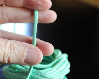 5yds faux suede cord, lime green, about 3 mm wide, 15 ft cord