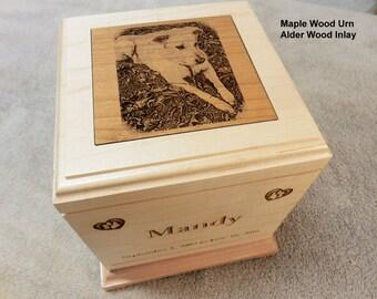 Large Pet Urn - Laser Engraved Maple Wood