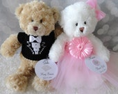 """Classic Style Flower Girl and Ring Bearer Teddy Bears, Flower Girl Gift, Ring Bearer Gift, Wedding Keepsake, 12"""" Brown and White Bears"""