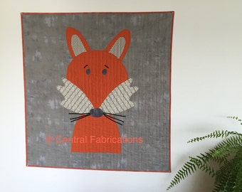 """Fox Quilt - Child's Quilt - Nursery Decor - Wall Hanging - Handmade - 44"""" by 42"""""""
