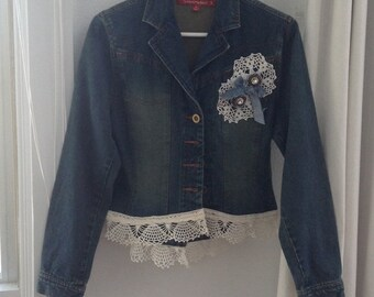 Zipper Jewelry Denim Jacket