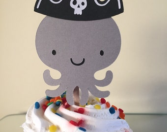Pirate Octopus Cupcake Topper