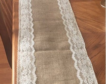 Burlap & Trim Lace Table Runner with a Variety of Lace Color Options. Great for Weddings and Other Special Events. Rustic and Chic.