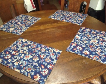 Handmade set of 4 quilted blue floral design place mats.
