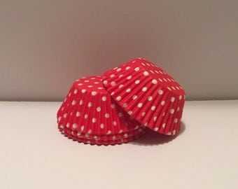 50 count - Grease Resistant Red with White Polka dots standard size cupcake liners/baking cups