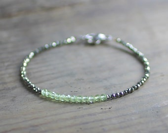 Delicate Pyrite & Peridot Beaded Bracelet, Sterling Silver or Gold Filled Skinny Bracelet, Green Gemstone August Birthstone Peridot Jewelry