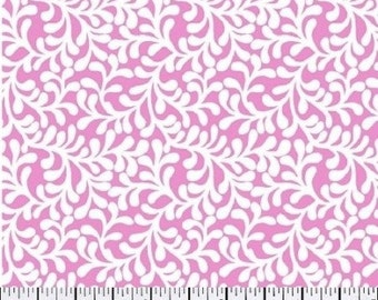 Pink and white vine cotton fabric by the yard - pink fabric - pink and white fabric by the yard - pink fabric by the yard #15348