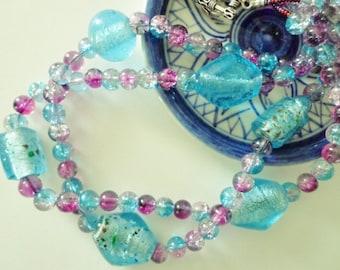 Cool Aqua Blue & Berry Glass Beaded Necklace, Double Strand Necklace,Multi Strand Necklace