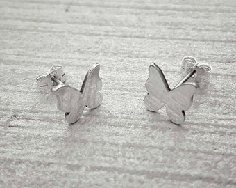 Butterfly earrings, stud earrings, sterling silver, flutterby, gift for her