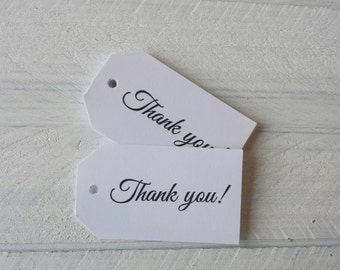 25 White Thank You Gift Tags-Hang Tags-Wedding Favor Tags-Thank You Favor Tags-Thank You Party Favor Tags