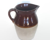 SALE Clay pitcher vintage brown and tan crock style stoneware container