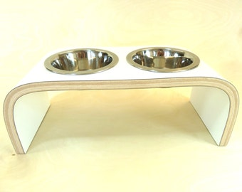 White Raised Pet Feeder -  Square Design available in various sizes