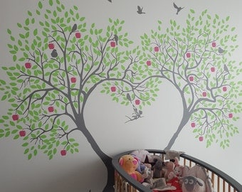 Wall decal, Kids Nursery wall decals, Tree wall decal, baby room decal, Wall arts-Apple heart Tree-DK209