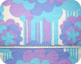 Floral retro vintage fabric - blue, purple and white