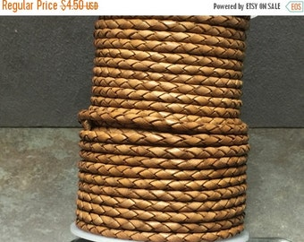 On Sale NOW 25%OFF 4mm Top Quality Round Braided Leather Cord - Vintage Light Brown- 1 Meter