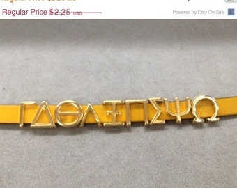 On Sale NOW 25%OFF Greek & English Alphabet Letters For 5mm - 10mm Flat Leather Cord  Gold Z1305 Qty 1