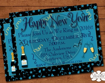 new years eve invitation,new years eve party, new years eve invite, happy new year invite - Digital File - DIY PRINTABLE