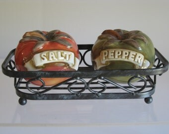 Vintage Tomato Salt and Pepper ceramic/porcelain Shakers with metal stand