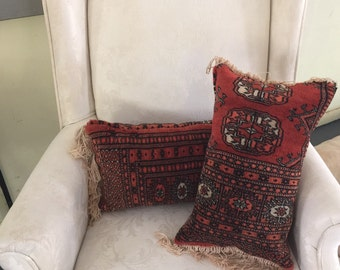 Set of two hand made pillows made from vintage oriental rug-SALE!