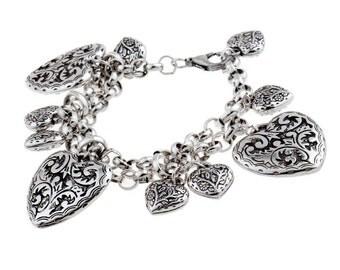 Silver Carved Heart Charm Bracelet