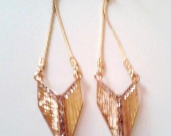 Gold Chevron Dangle Earrings