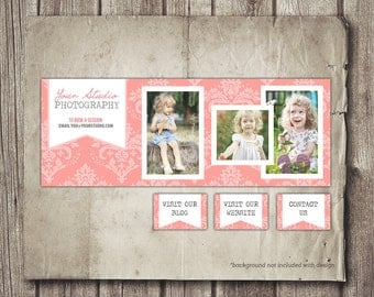 Photographer Facebook Cover Photo Template - Pink Damask Photo Collage Photography Business Facebook INSTANT DOWNLOAD - Plus 4 Bonus Tabs