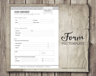 Photography Business Forms - Client Agreement Form for Photographers  - Photographer Client Contract Agreement - INSTANT DOWNLOAD
