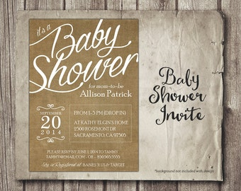 Neutral Baby Shower Invitation - Digital Baby Shower Invite - Brown Linen Script Baby Shower - Printable 5x7 Baby Girl with Changes Free
