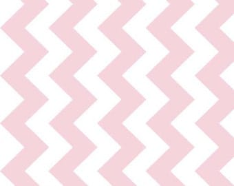 "Extra 30% off Sale 1/2 yard manufacturers cut (58"" wide instead of 44"") medium chevron Baby Pink"
